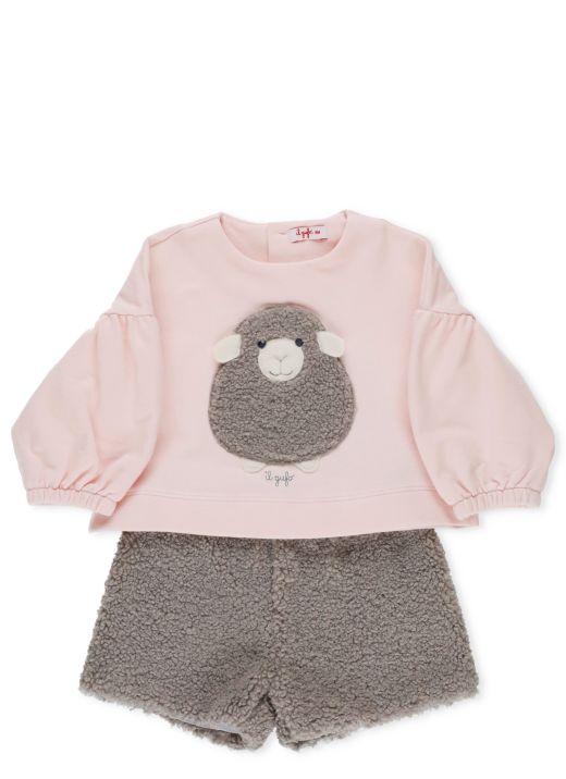 Sweatshirt and short set with sheep