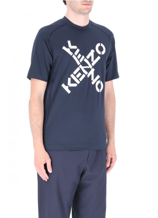 Stretch fabric t-shirt with logo