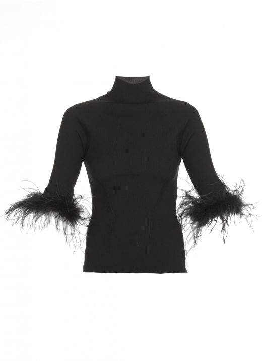 Sweater with feathers