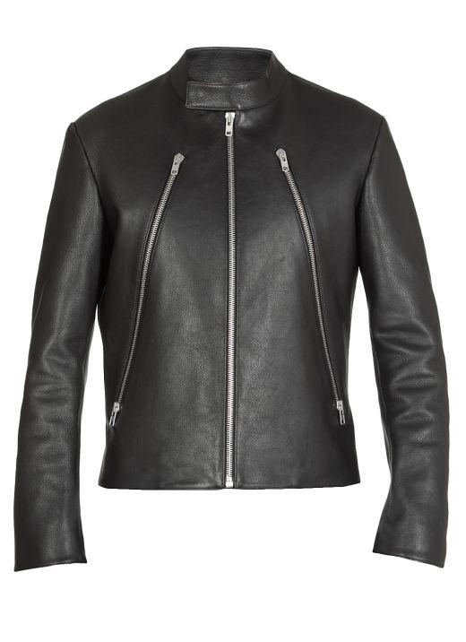 Pebbled leather jacket