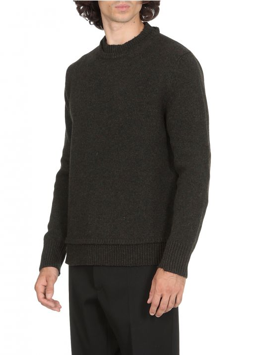 Wool sweater with patches