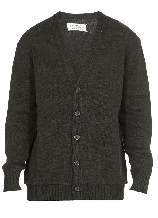 Wool knitted cardigan with patches