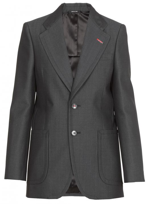 Wool blend mono-breasted jacket