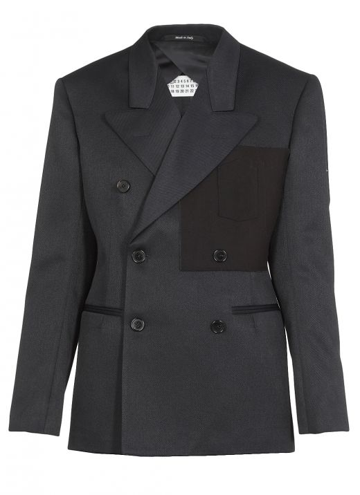Twill double-breasted jacket
