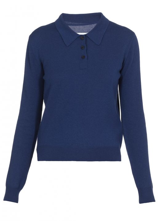 Wool polo shirt with buttons