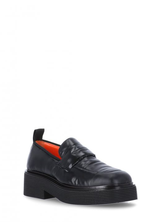 Leather and fabric loafer