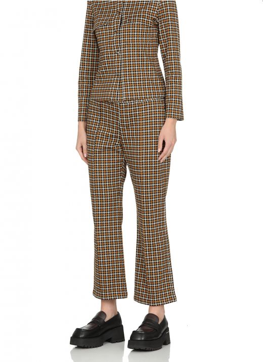 Jacquard pants with houndstooth pattern