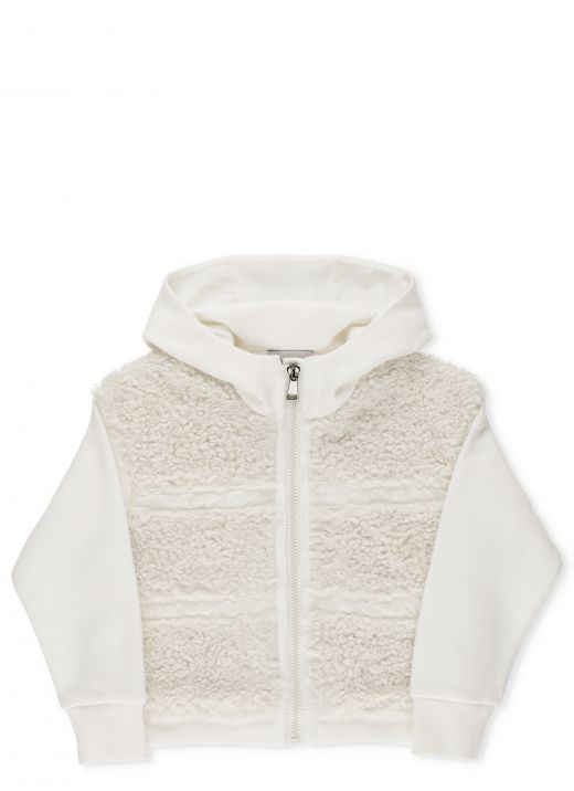 Hoodie with shearling effect