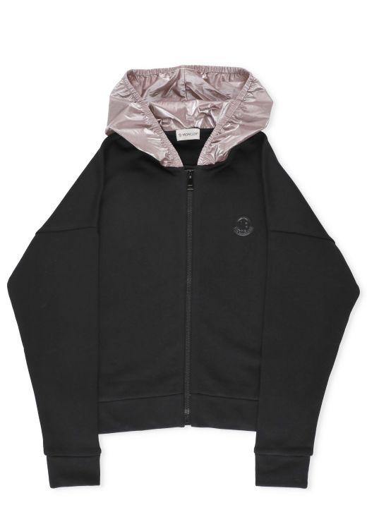 Sweatshirt with nylon hood
