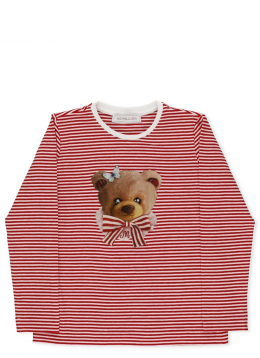 Striped sweater with teddy bear