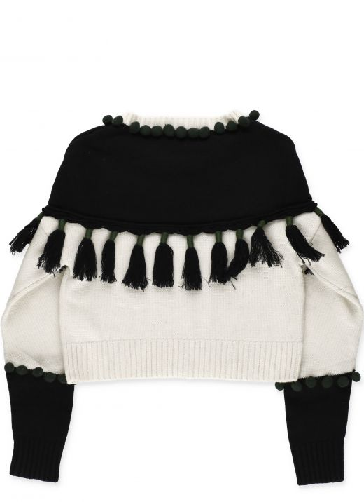 Knitted pullover with fringes