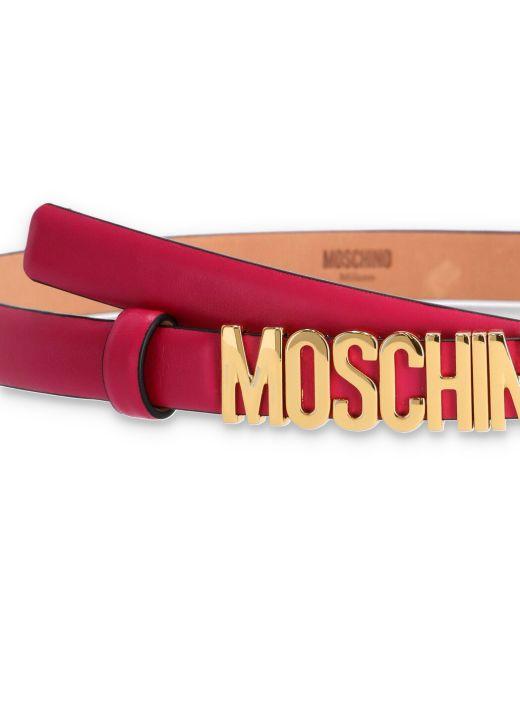 Mini logo lettering belt