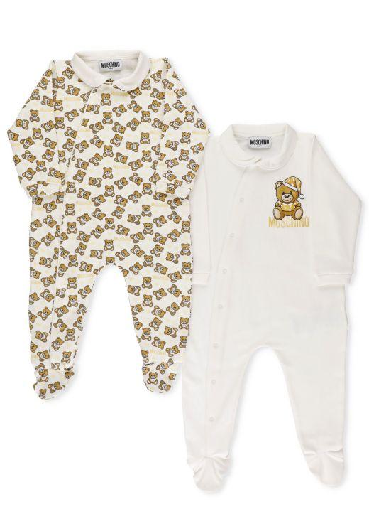 2 Teddy Baby Rompers Set