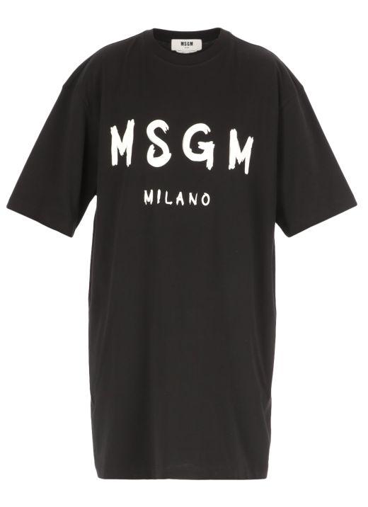 T-shirt dress with brushed logo
