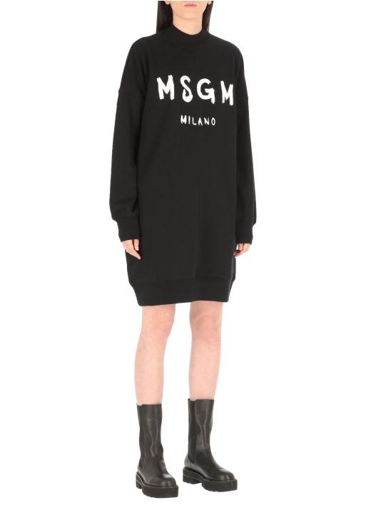 Brushed logo sweatshirt dress