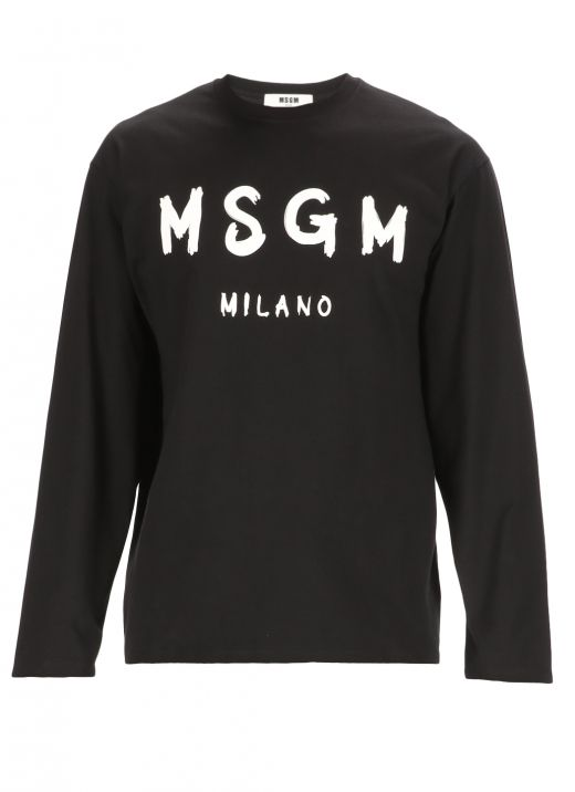 Sweater with brush stroked logo