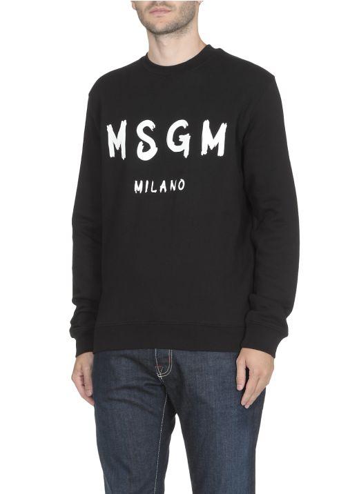 Sweatshirt with brush stroked logo