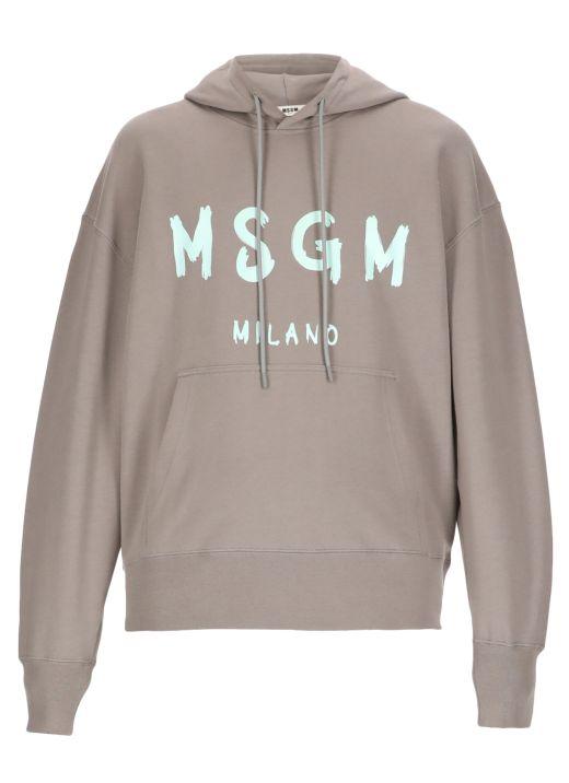 Brush stroked logo hoodie