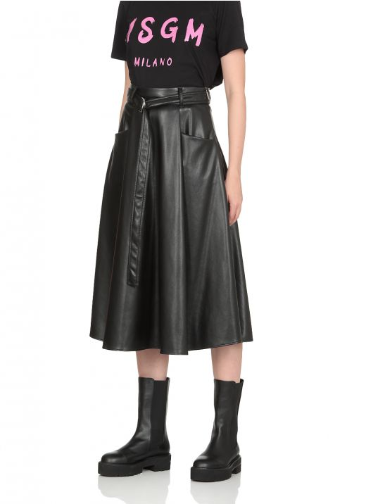 Eco leather flared skirt