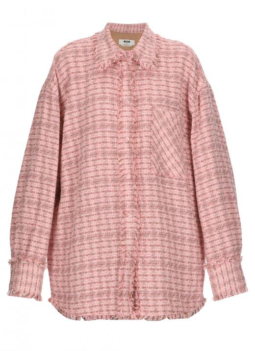 Tweed shirt with fringes
