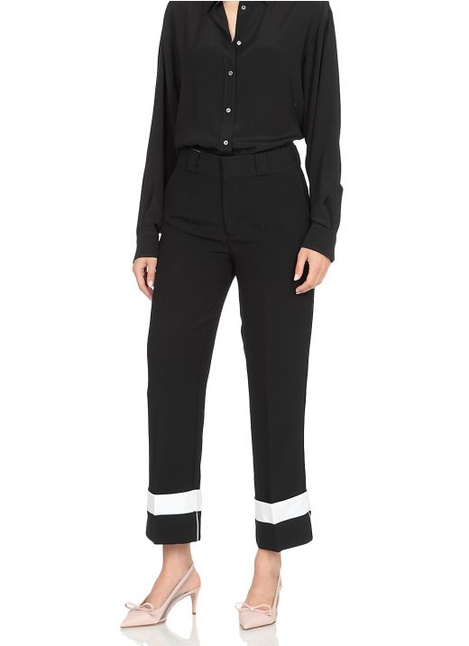 Tailored trousers with contrasting hems