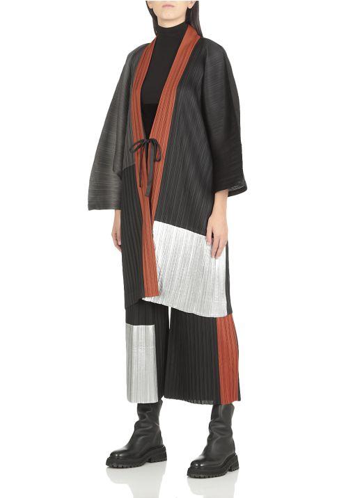 Pleated long cardigan