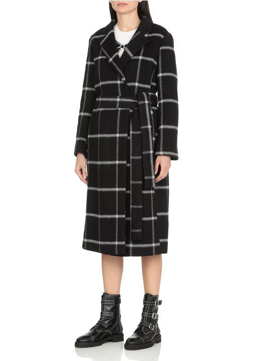 Double drap check coat