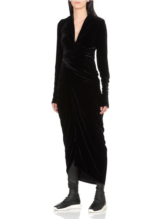 Velvet open dress with belt
