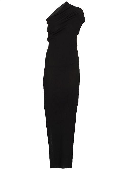 Virgin wool one shoulder dress