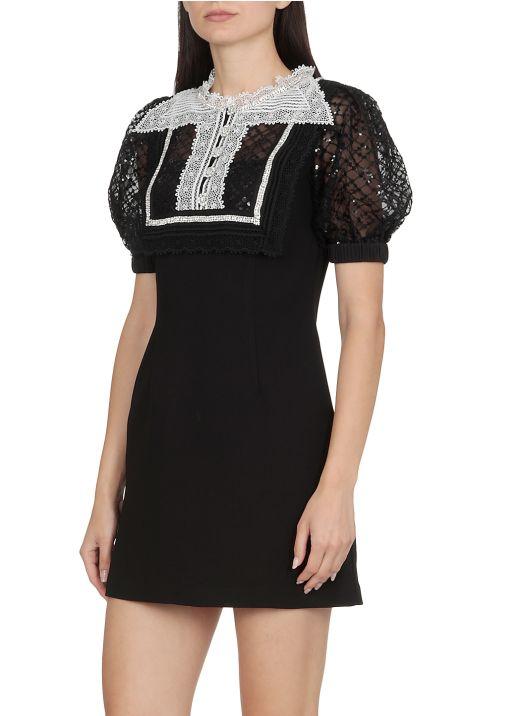 Crepe Fine Lace Mini Dress