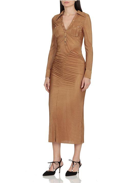 Metallic Plisse Midi Dress