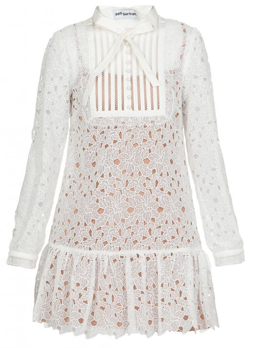 Guipure Lace Bib Detail Mini Dress