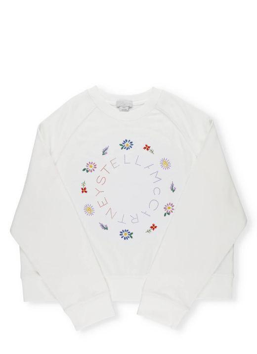 Sweatshirt with Logo and Flowers