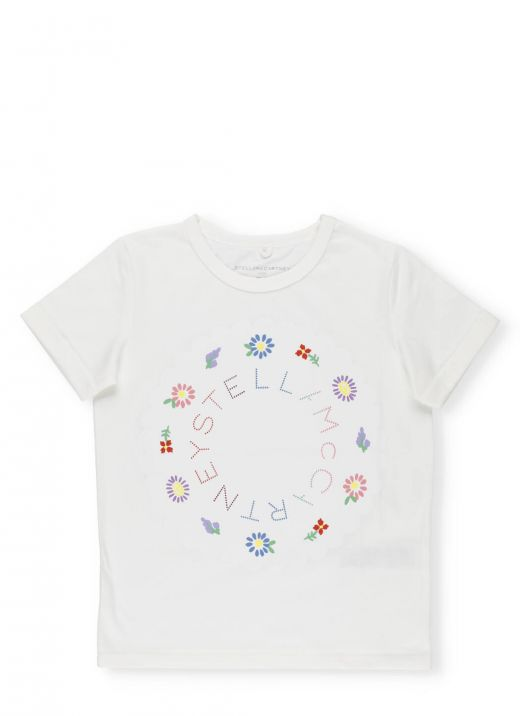 T-shirt with Logo and Flowers
