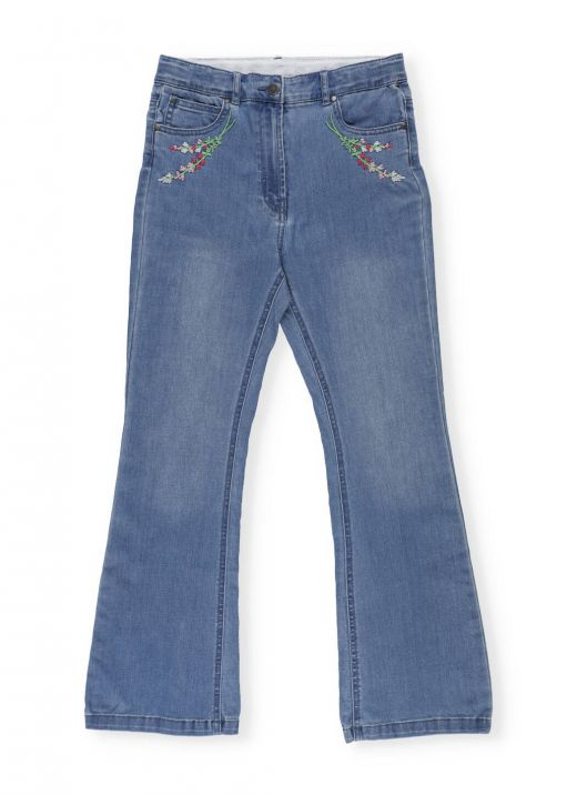 Denim Jeans with Embroidered Flowers