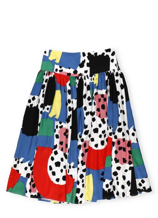 Leopard print twill skirt