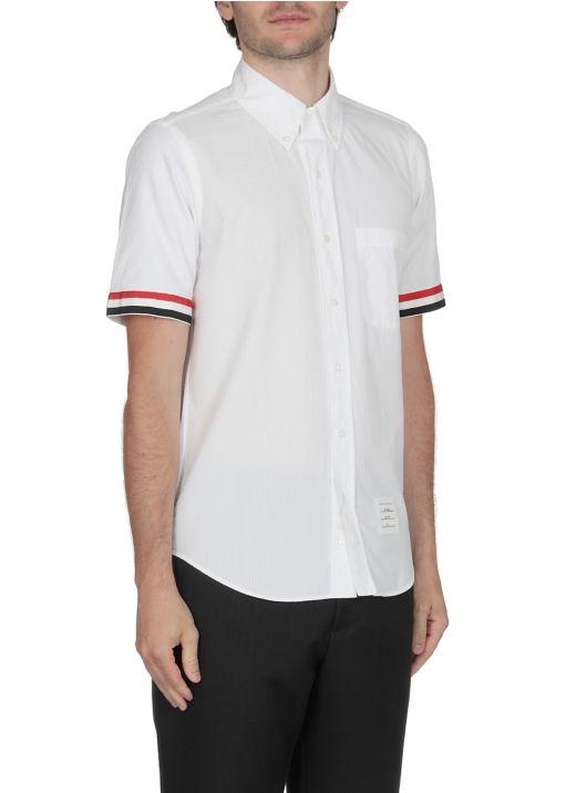 Shirt with Seersucker panels