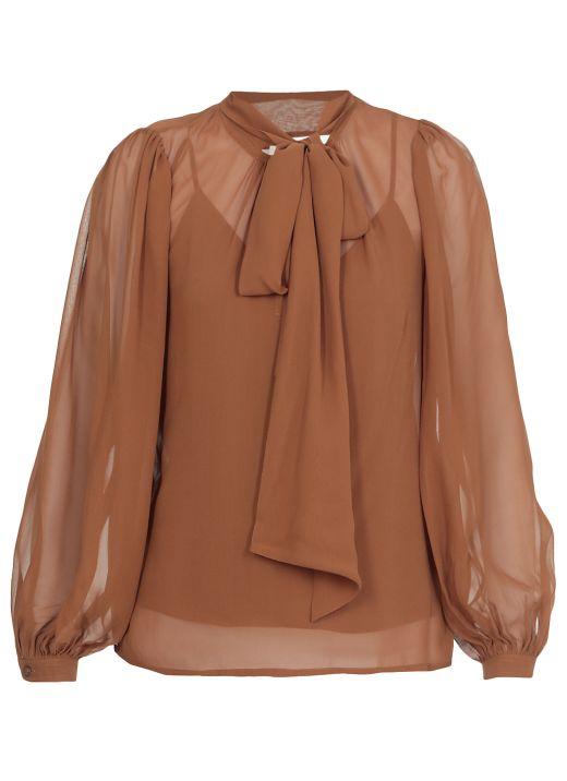 Shirt with chiffon bow