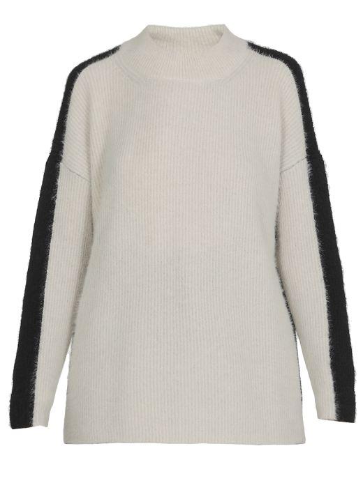 Cashmere and silk bi-color sweater