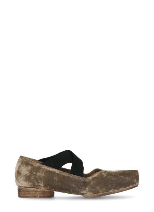 Velvet ballet shoe