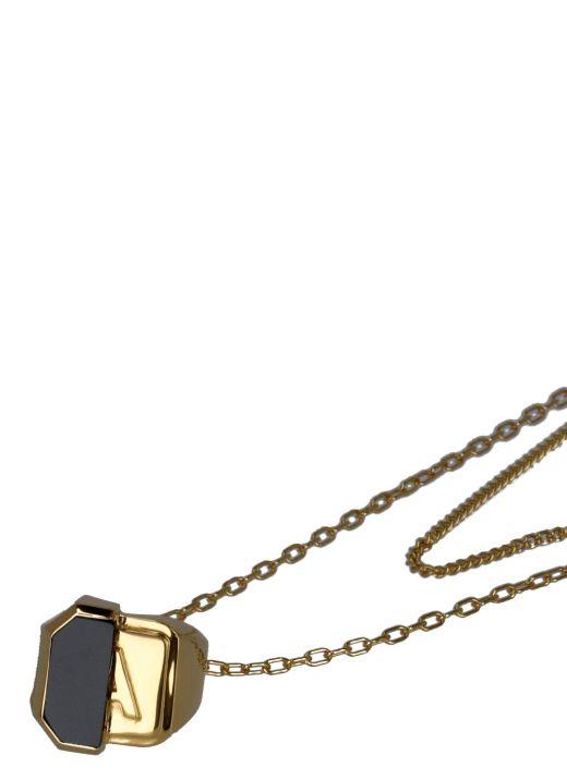 Collana con anello in pietra mista