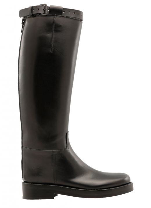 Smooth leather high boot