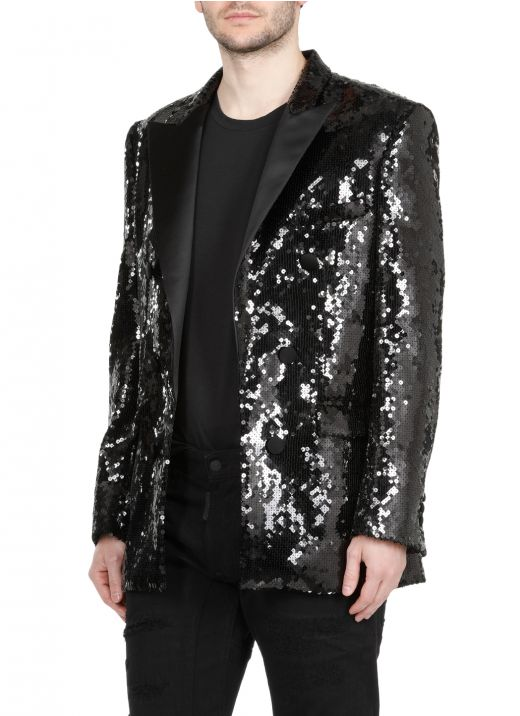 Double breasted blazer with sequins