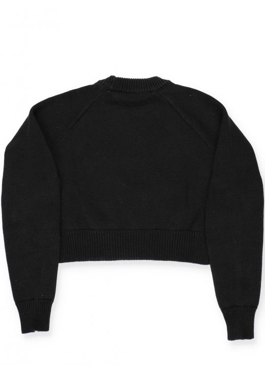Cotton sweater with embossed buttons