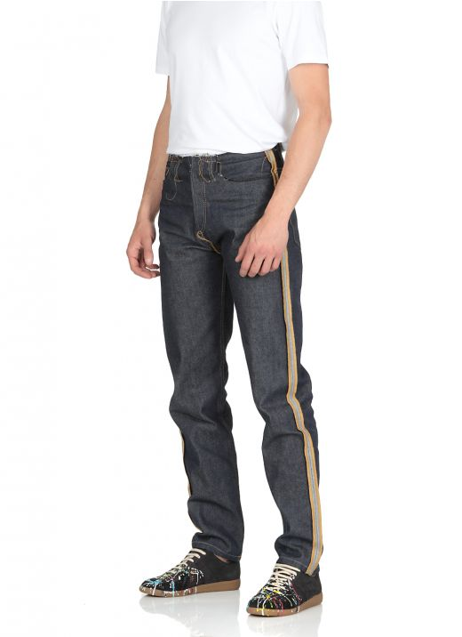 Cotton jeans with raw cut stitchings