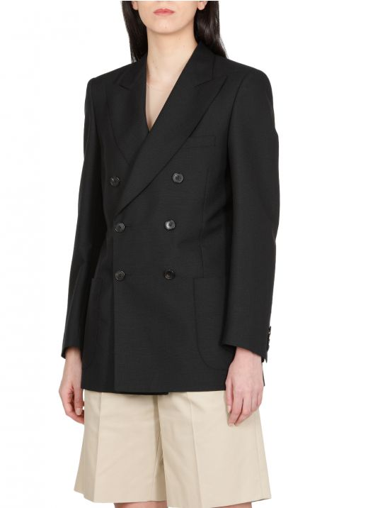 Wool blend double breasted jacket