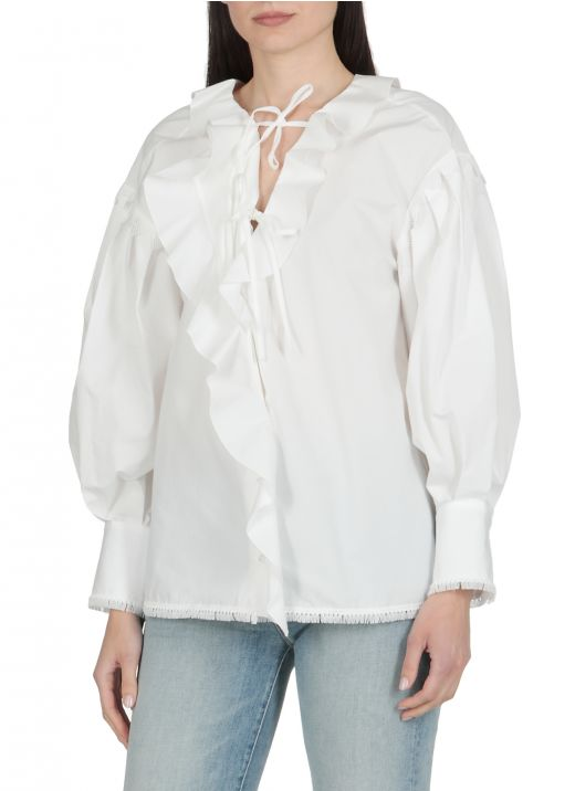 Cotton blouse with rouches