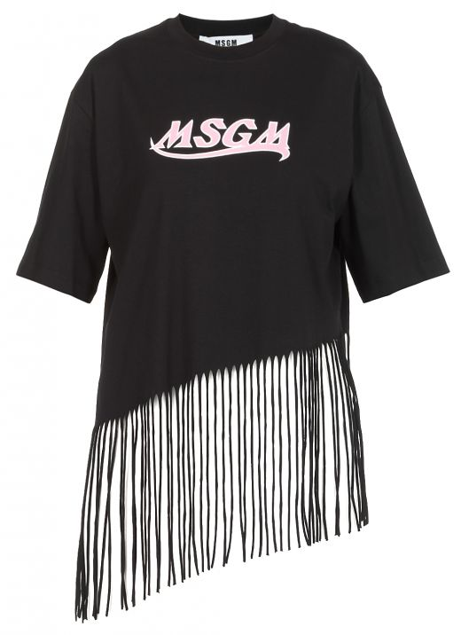 Cotton T-shirt with fringes