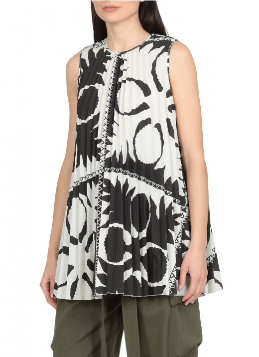 Pleated top with Flower Damier print