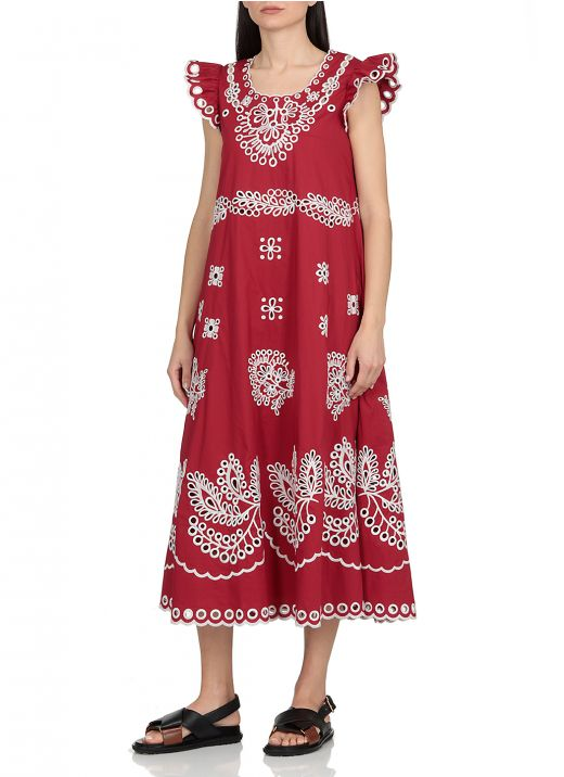 Cotton dress with embroideries